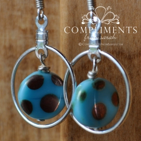 aqua polka dot silver earrings