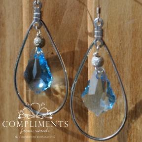 baby blue silver earrings