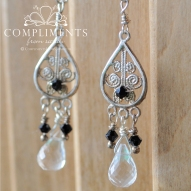 black and crystal silver chandelier earrings