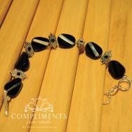 black onyx and antiqued silver stone bracelet