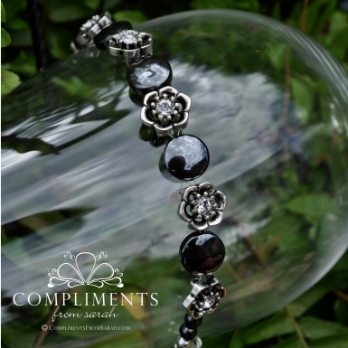 black onyx and silver flower girl bracelet