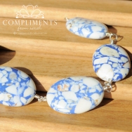blue and white natural stone bracelet