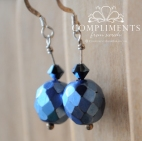blue faceted drop earrings with swarovski crystal