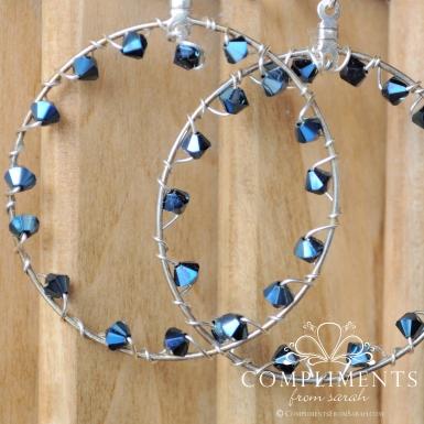 blue swarovski crystal hoop earrings