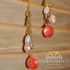 gold and coral pink freshwater pearl necklace