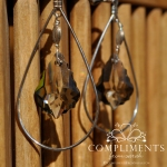 gray faceted silver earrings