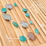 green and brown natural stone with silver necklace bracelet and earring set