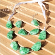 green and white natural stone necklace and bracelet set