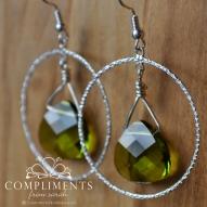 green faceted earrings