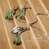 green glass and leaf silver necklace and earring set