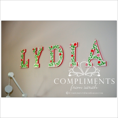 hand painted letters lydia