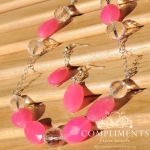 hot pink and crystal faceted necklace
