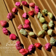 hot pink and neon yellow stone necklace with silver