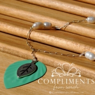 mint leave with freshwater pearls necklace