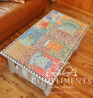"the ""famous"" mosaic coffee cup coffee table"