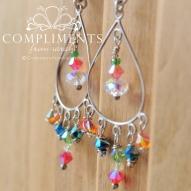 multi colored swarvski crystal chandelier earrings