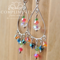 multi colored swarvski crystal chandelier earrings