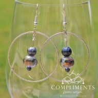 pewter purple and freshwater pearl earrings