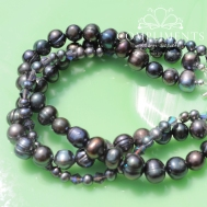pewter triple strand bridesmaid set