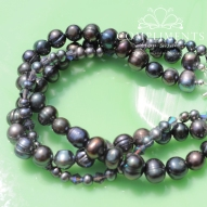 pewter purple freshwater pearl and swarovski crystal bracelet