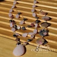pink stone necklace and bracelet set