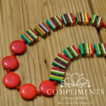 red stone and venitian striped stone necklace