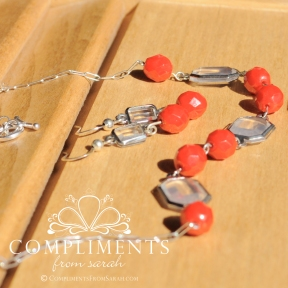 red stone faceted silver necklace