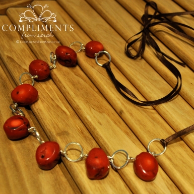 red stone silver and chocolate ribbon necklace