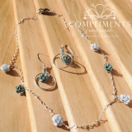 rose enamel and silver necklace and earrings