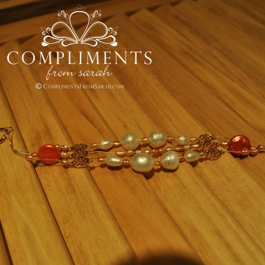 rose gold & pearl triple strand bracelet