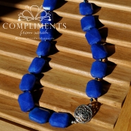 royal blue and swarovski crystal necklace with offset silver pendant