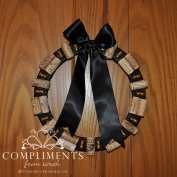 wine cork wreath black ribbon bells