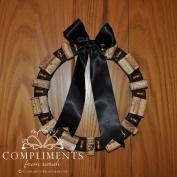 wine cork wreath black ribbon bells