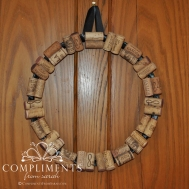 wine cork wreath black ribbon