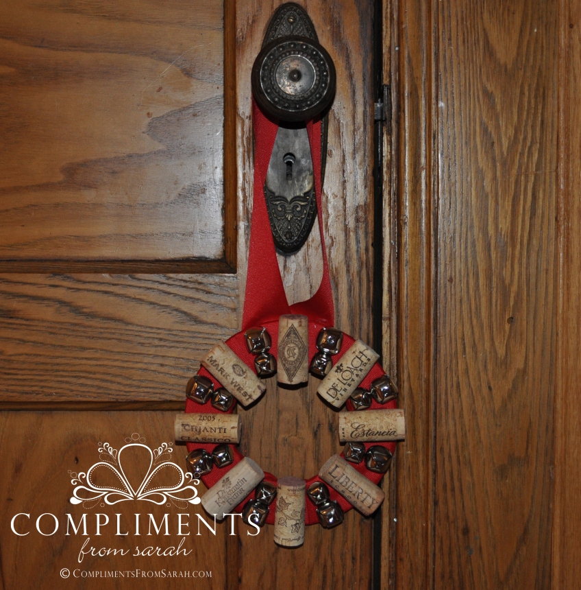 wine cork wreath door knob size red ribbon