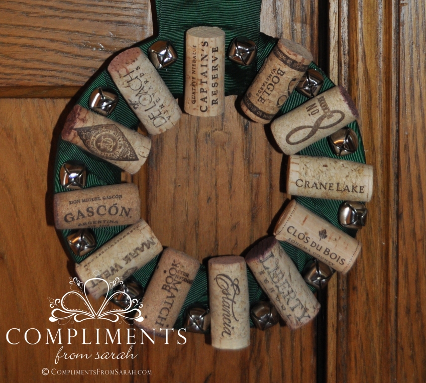 wine cork wreath green ribbon and bells door knob size