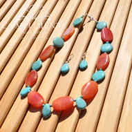 tangerine and turquoise set