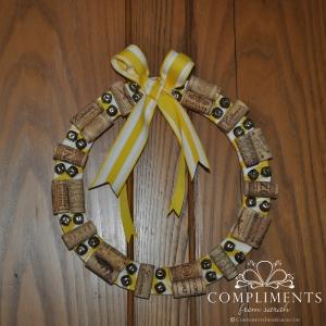 yellow wine cork wreath with bells